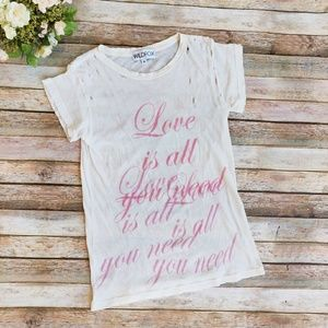 Wildfox Love Is All You Need Ivory Pink T-shirt